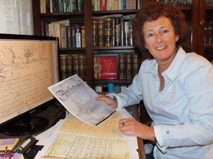 Annette translating old German scripts